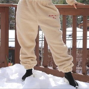 Cream embroidered joggers by PLT